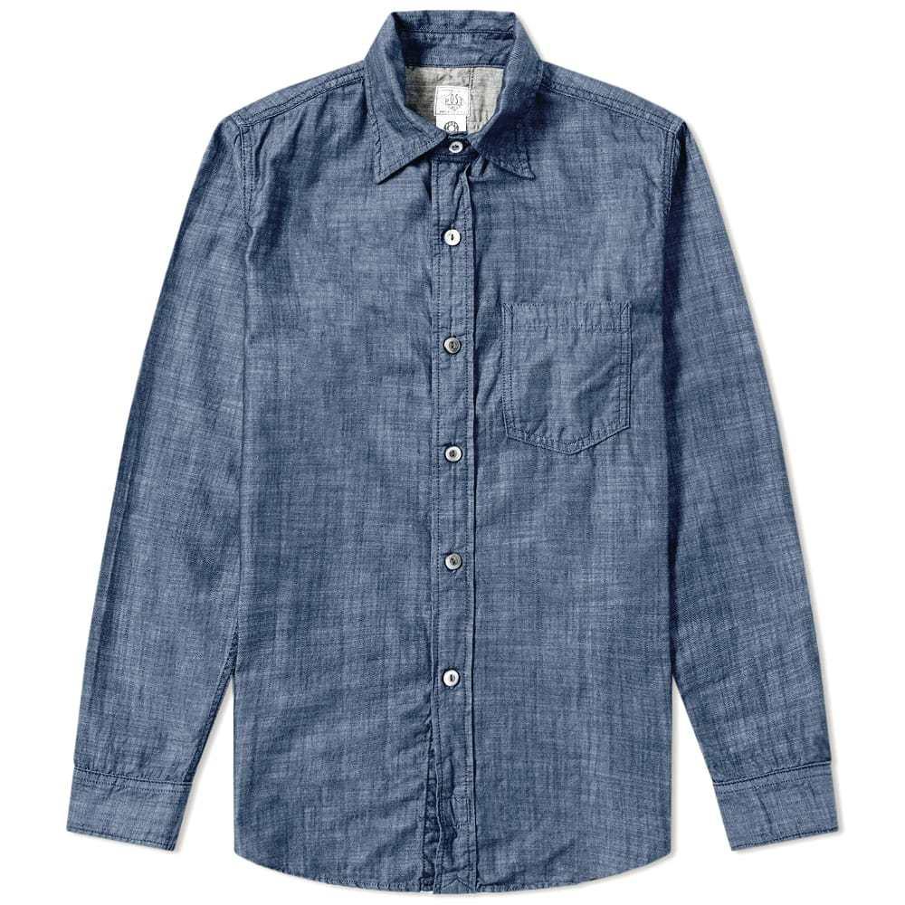 Photo: Post Overalls Railroad Shirt Blue