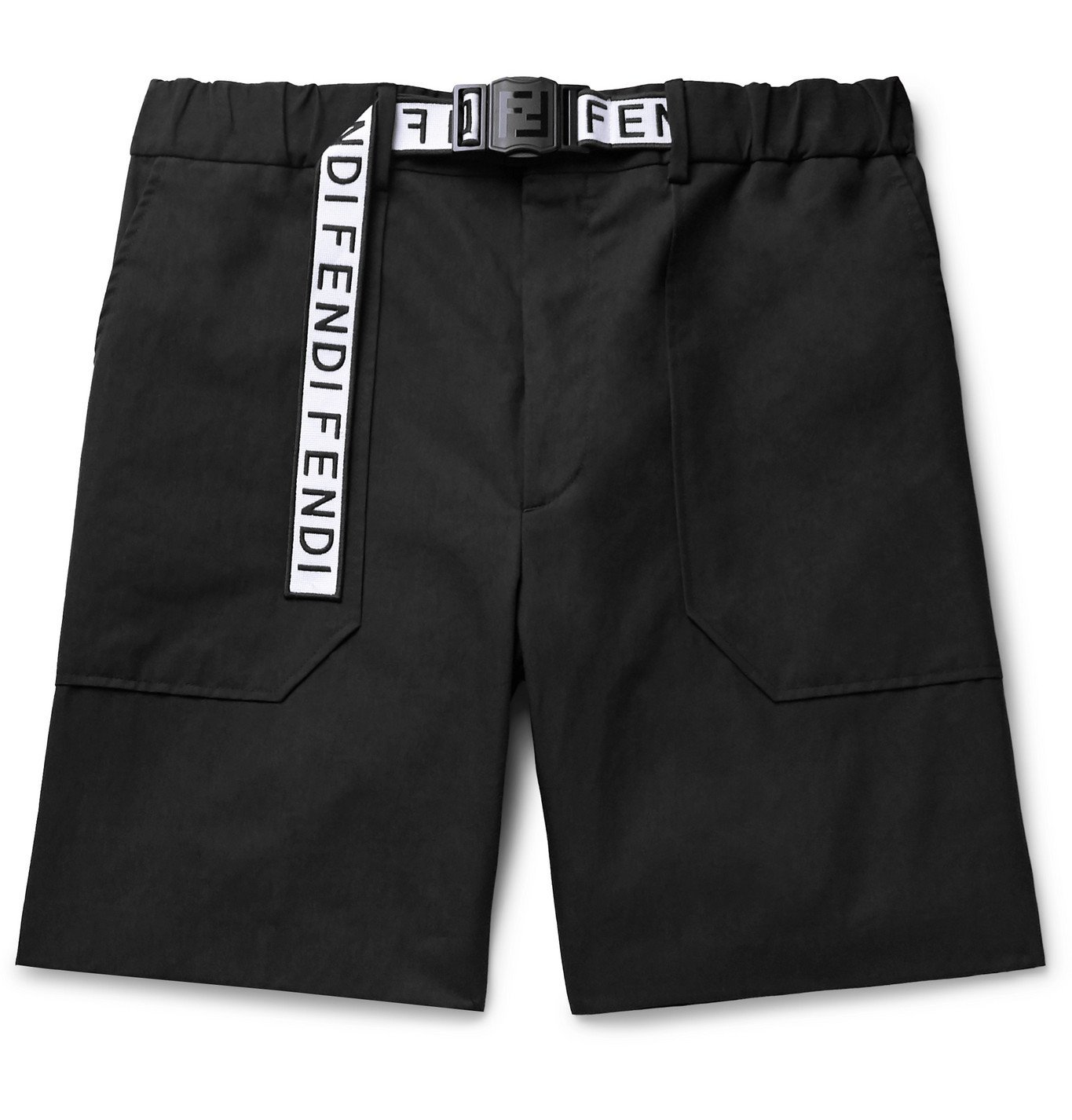 Photo: Fendi - Logo Webbing-Trimmed Cotton-Blend Twill Shorts - Black
