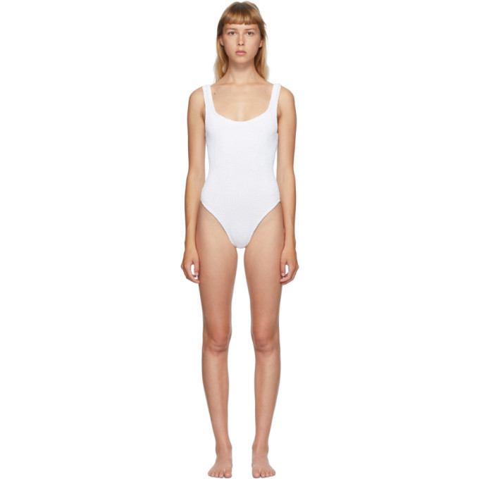 Photo: Hunza G White Classic Square Neck One-Piece Swimsuit