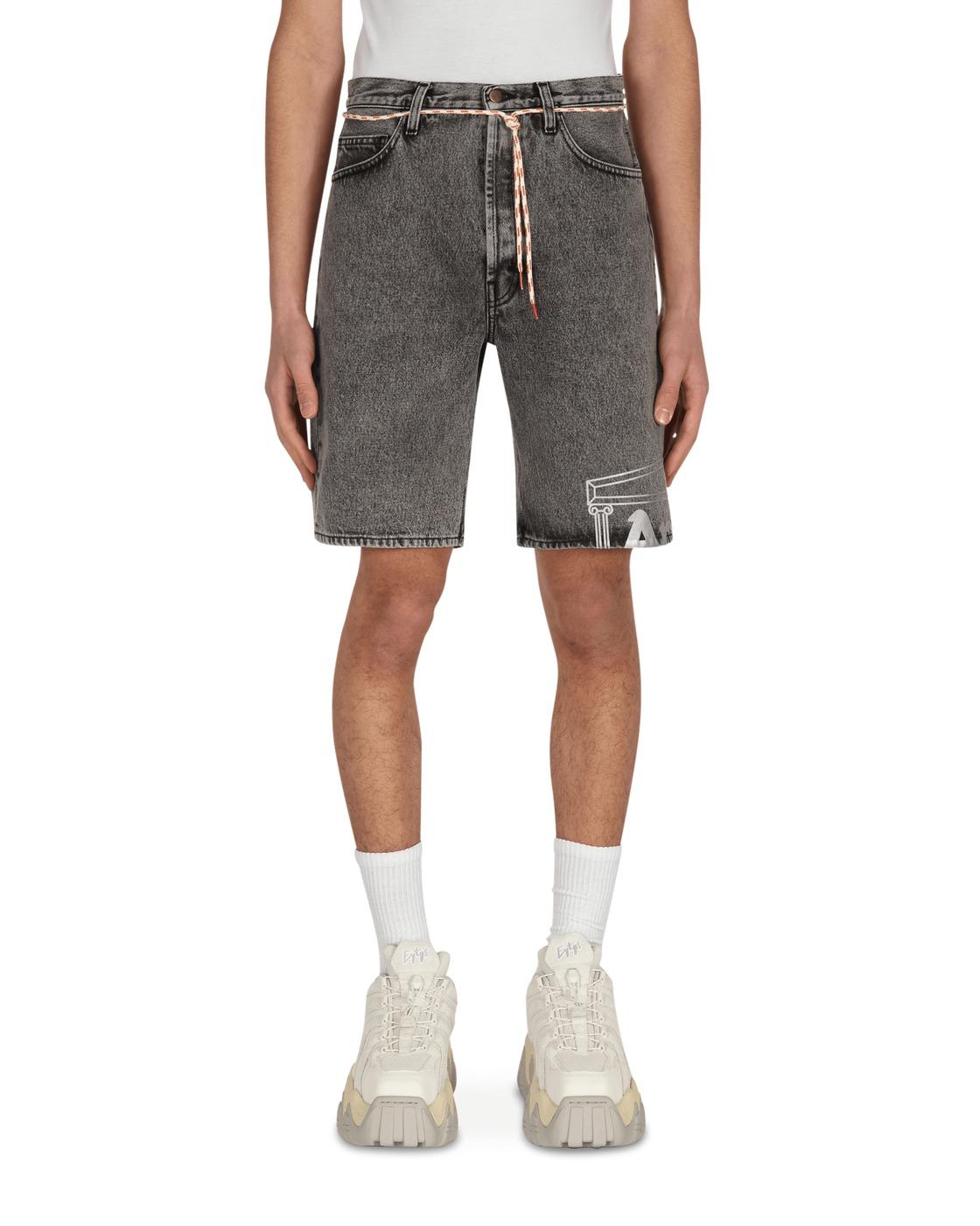 Aries Temple Acid Wash Denim Shorts Grey