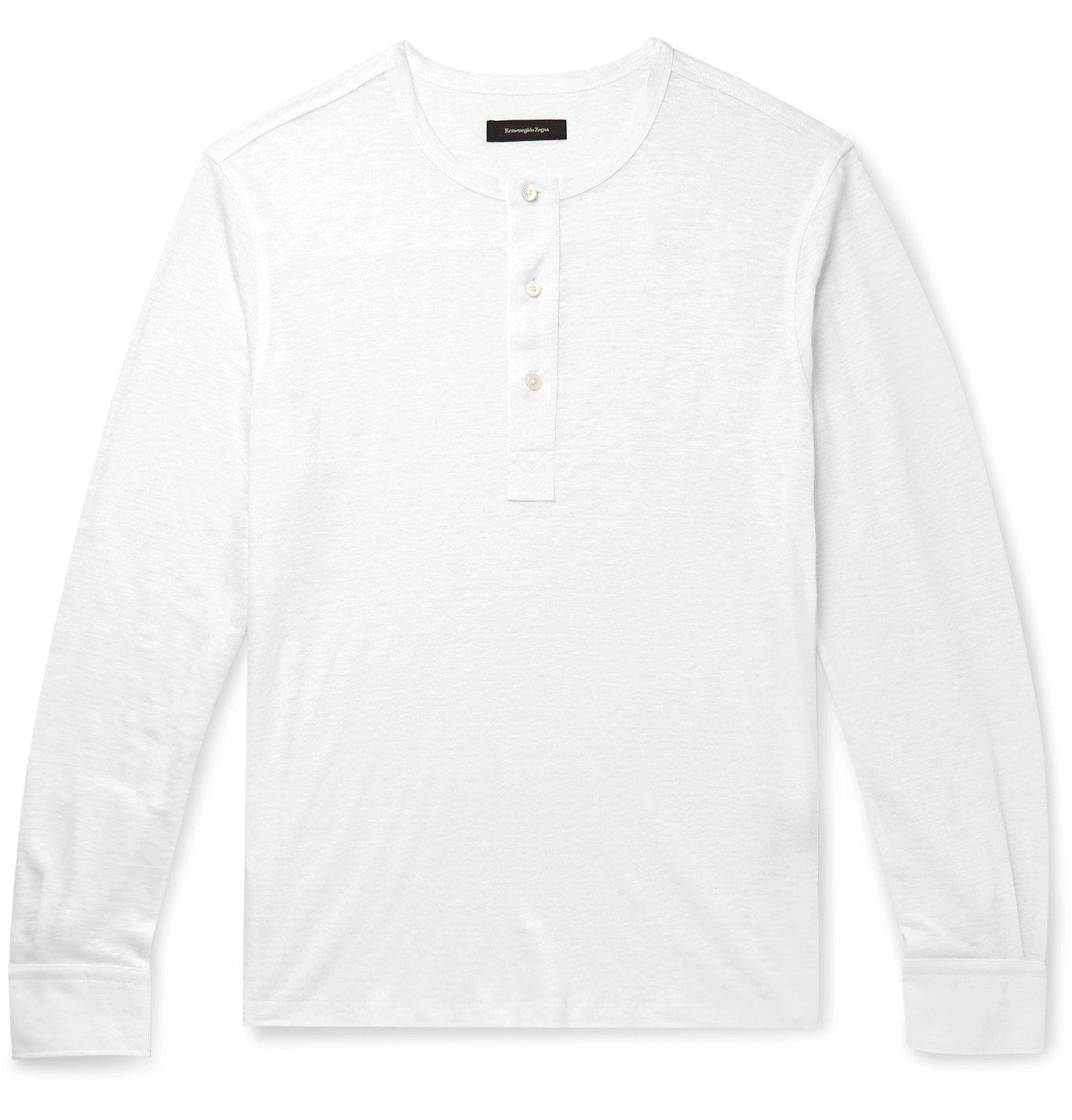 Photo: Ermenegildo Zegna - Slim-Fit Slub Linen Henley T-Shirt - White