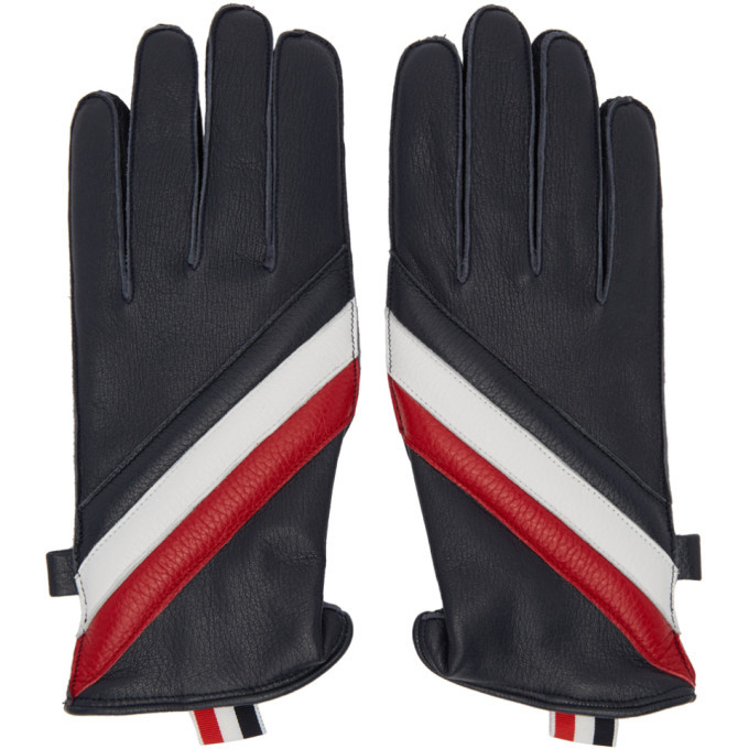 Photo: Thom Browne Navy Quilted Diagonal Stripe Gloves
