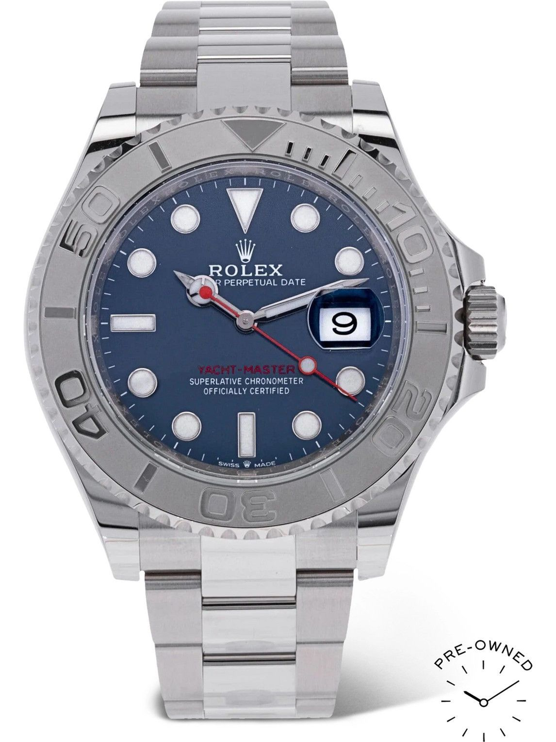 Photo: ROLEX - Pre-Owned 2021 Yacht-Master Automatic 40mm Platinum and Oystersteel Watch, Ref. No. 126622