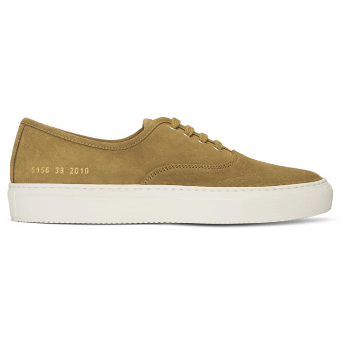 Common Projects Tan Suede Tournament Four Hole Sneakers