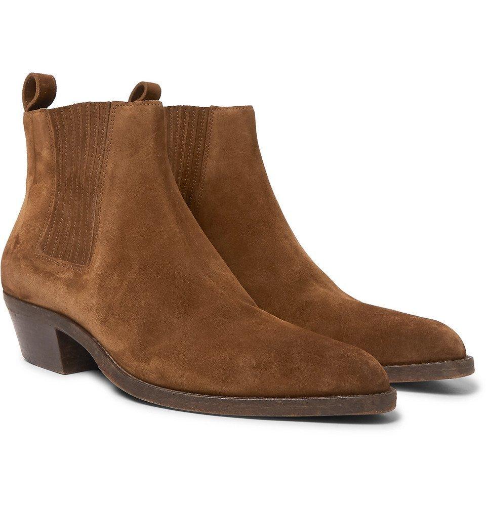 Photo: Saint Laurent - Dakota Brushed-Suede Chelsea Boots - Tan