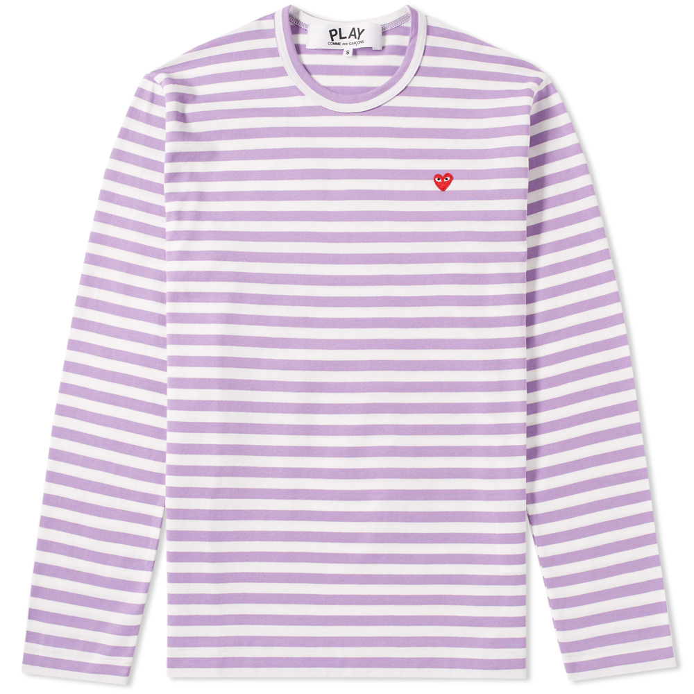 Photo: Comme des Garcons Play Little Red Heart Long Sleeve Stripe Tee Purple