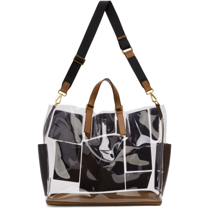 Photo: Fendi Transparent and Brown Leather and Fur Forever Fendi Patch Pocket Tote