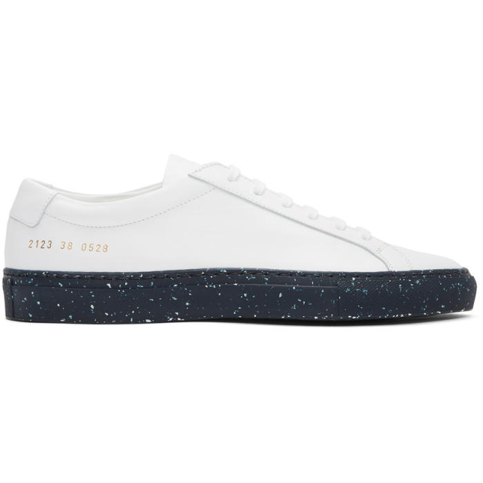 Common Projects White and Navy Achilles Low Confetti Sole Sneakers