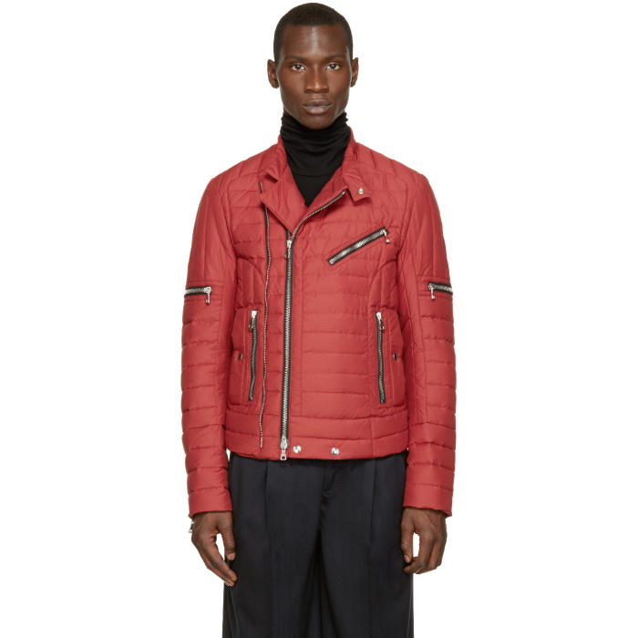 Photo: Balmain Red Quilted Biker Jacket