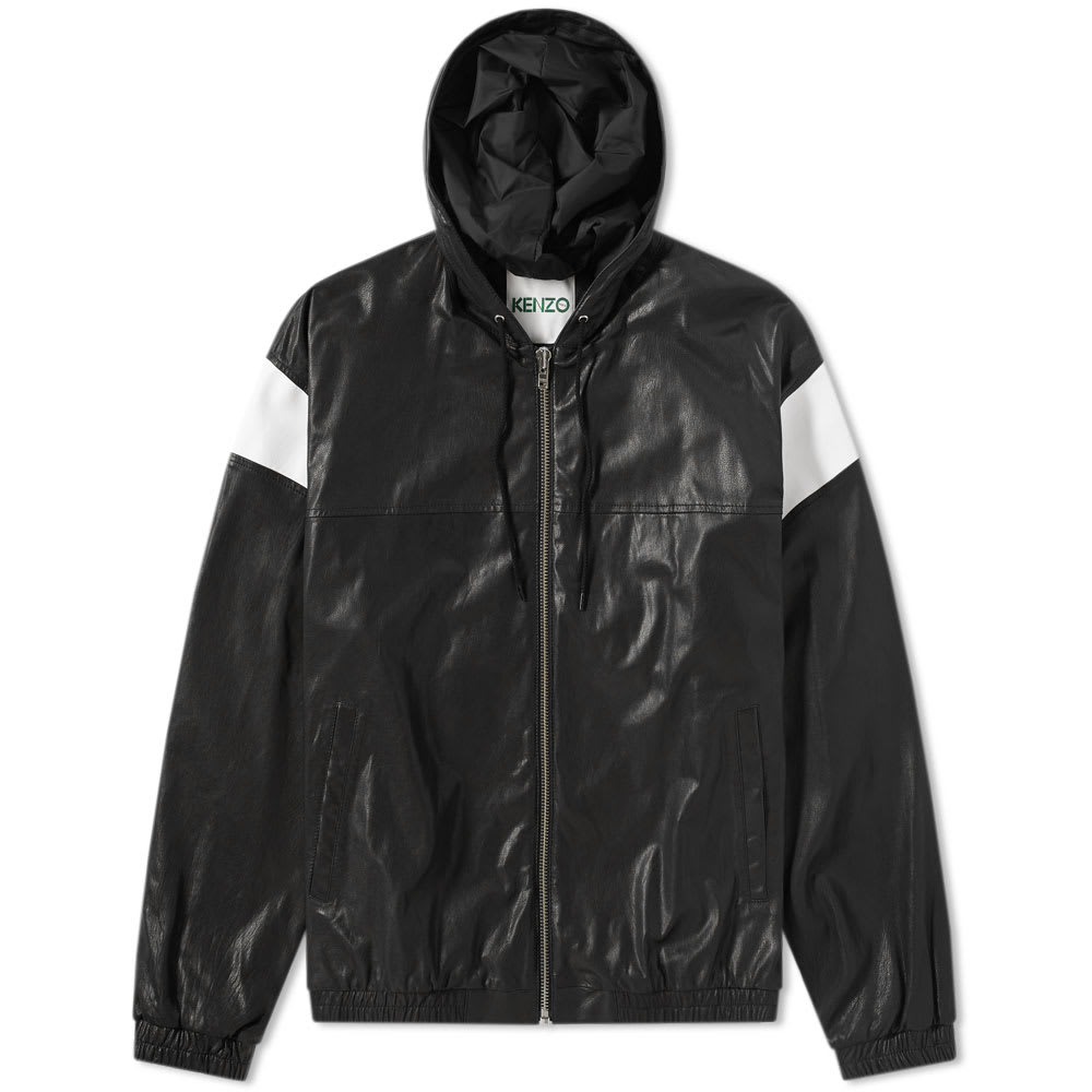 Photo: Kenzo Lambskin Hooded Leather Jacket Black