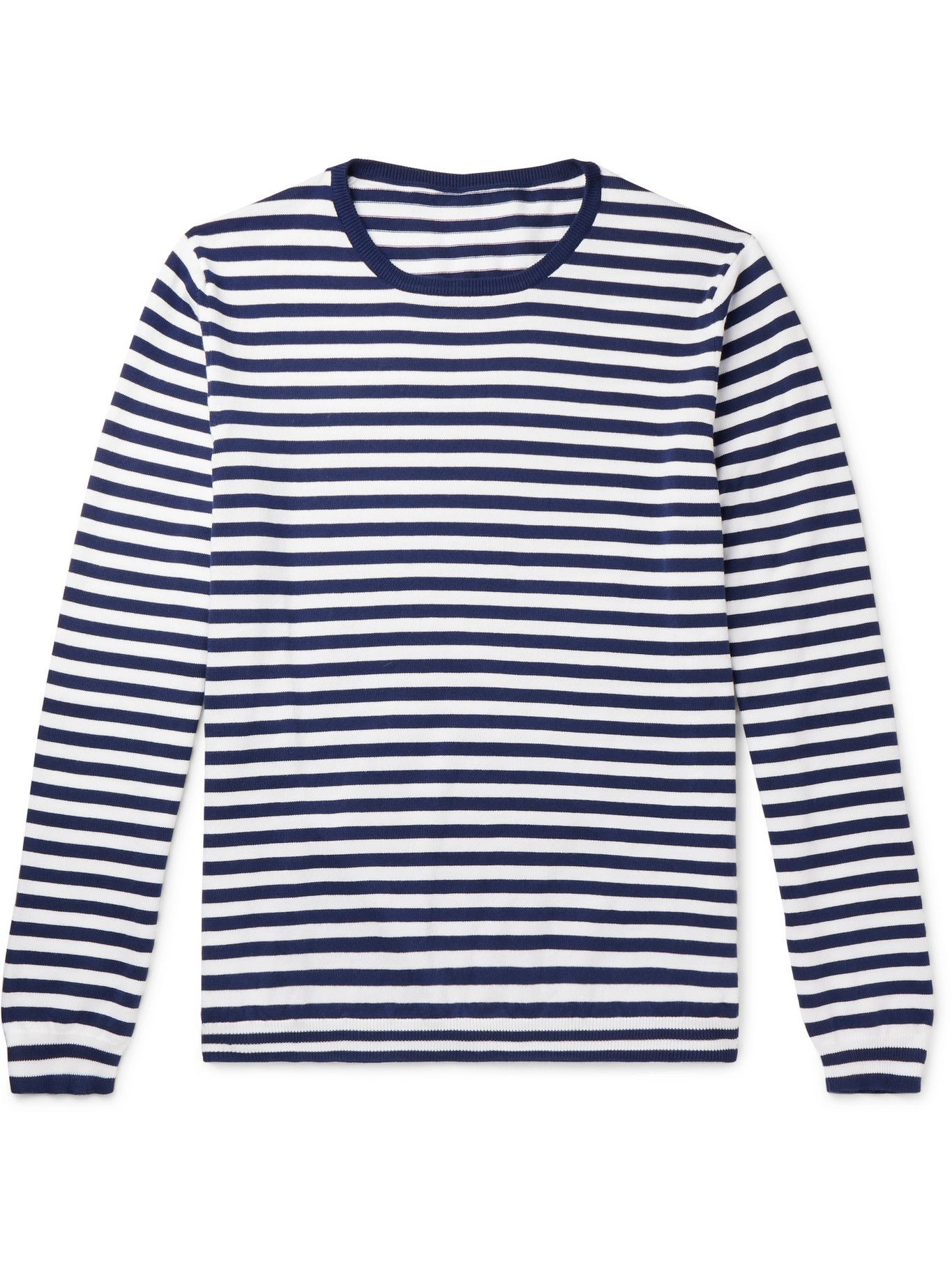 Photo: ANDERSON & SHEPPARD - Striped Cotton Sweater - Blue