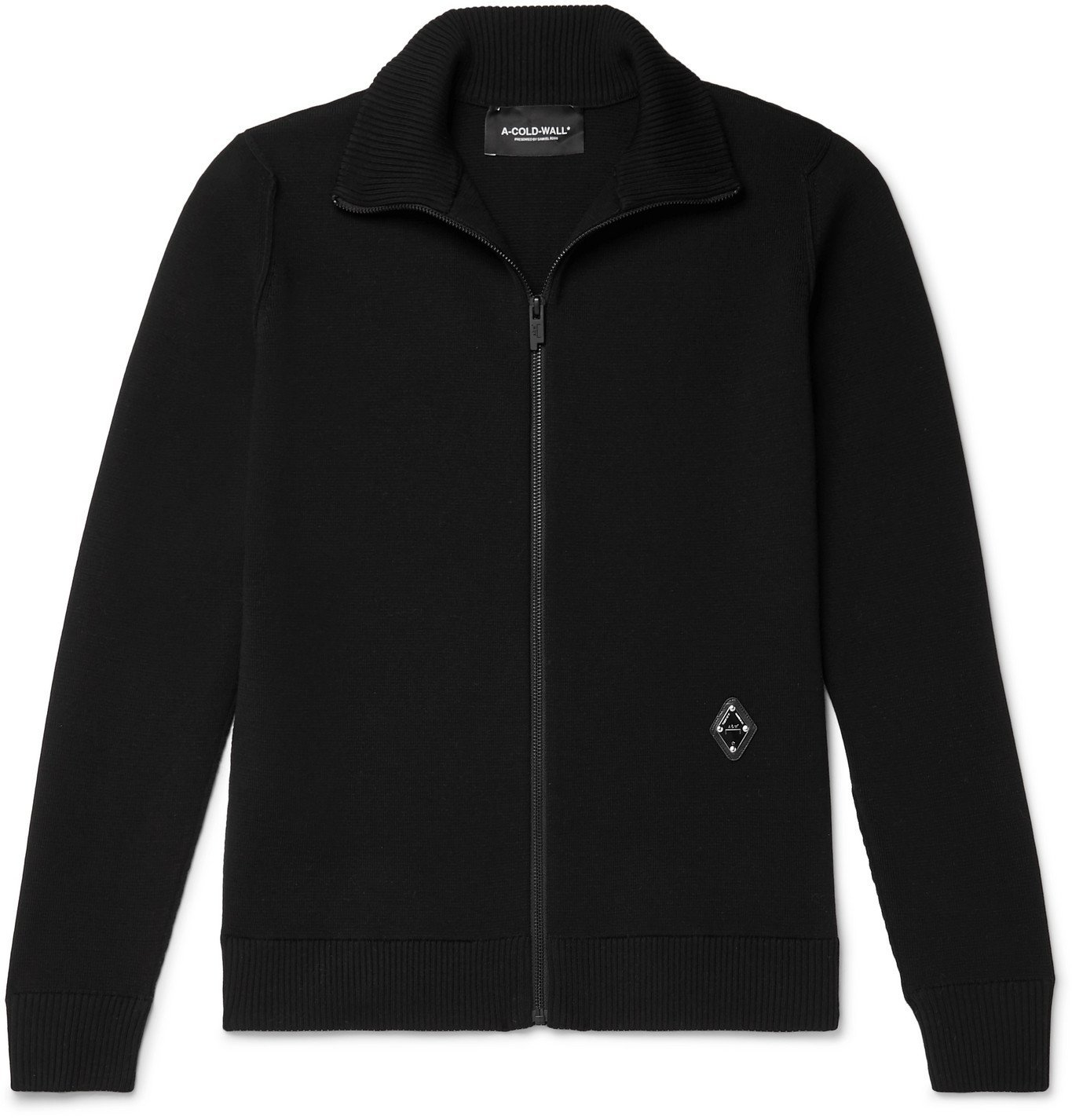 Photo: A-COLD-WALL* - Slim-Fit Logo-Appliquéd Wool-Blend Zip-Through Sweater - Black