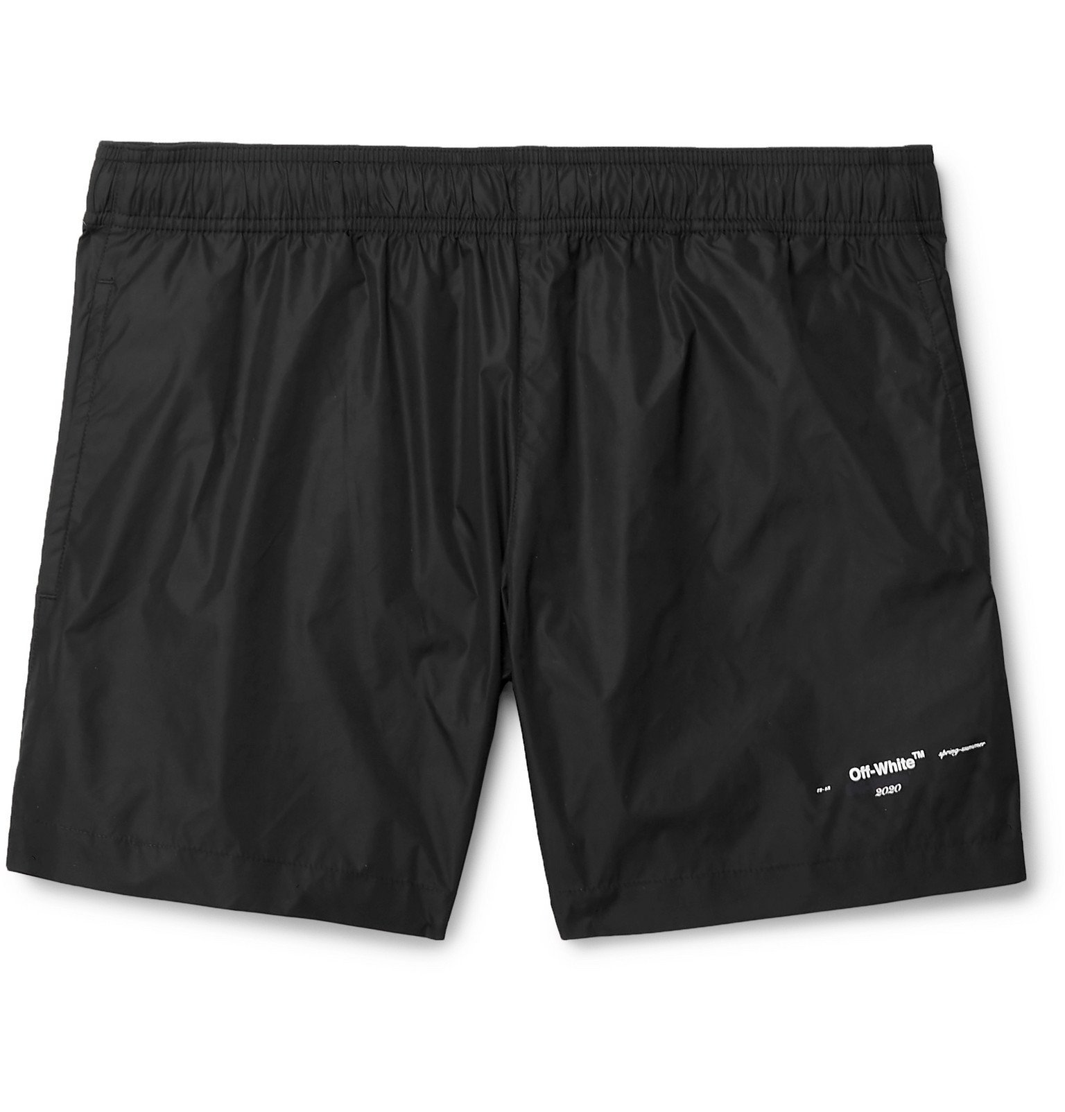 Photo: Off-White - Mid-Length Logo-Print Shell Swim Shorts - Black