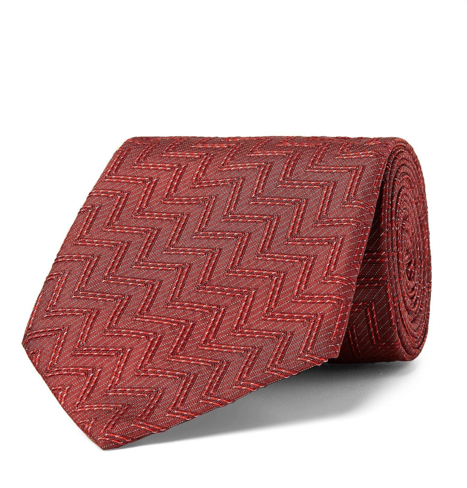 Giorgio Armani - 7.5cm ZigZag Silk-Jacquard Tie - Red