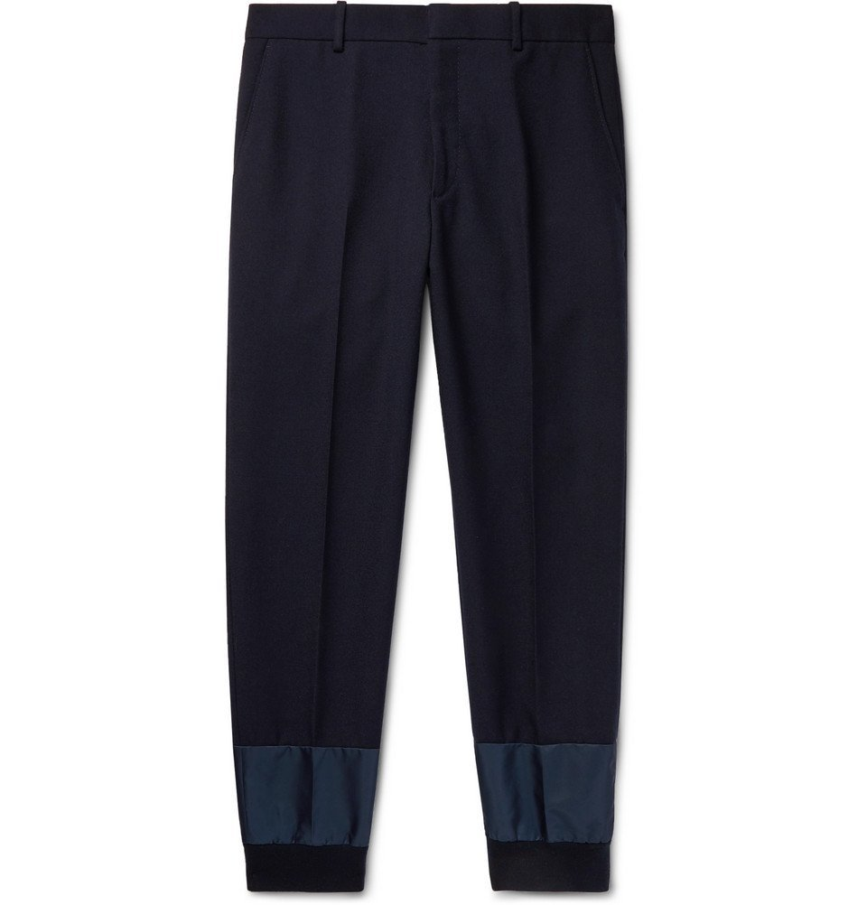 Photo: Alexander McQueen - Navy Tapered Shell-Trimmed Virgin Wool Trousers - Navy