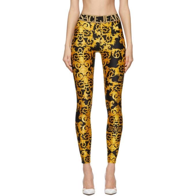 Photo: Versace Jeans Couture Black Baroque Logo Leggings