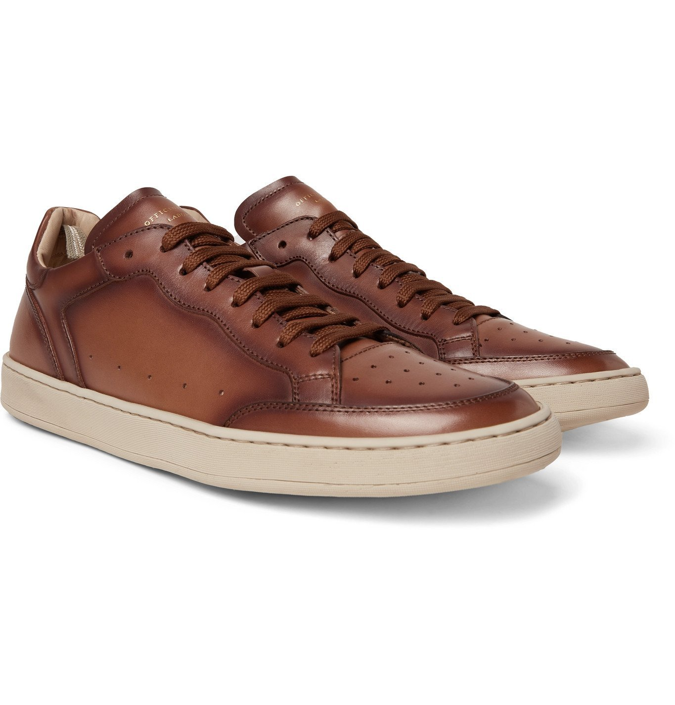 Photo: OFFICINE CREATIVE - Kareem Lux Perforated Leather Sneakers - Brown