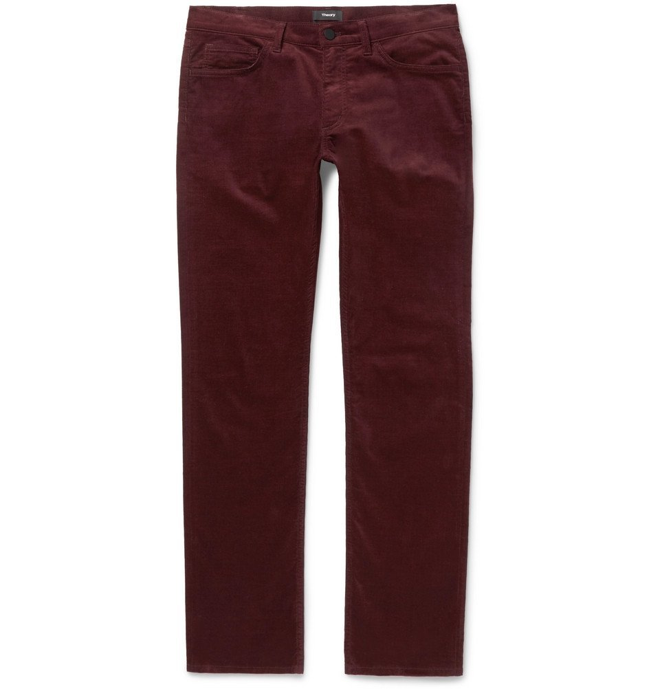 Photo: Theory - Hyannis Slim-Fit Stretch-Cotton Corduroy Trousers - Burgundy