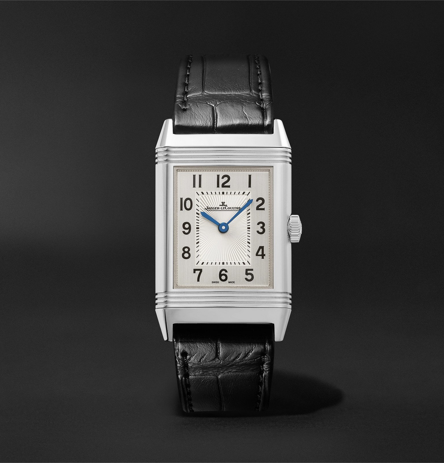 Photo: Jaeger-LeCoultre - Reverso Classic Medium Thin Automatic 24.4mm Stainless Steel and Alligator Watch, Ref. No. 2548520 - Silver