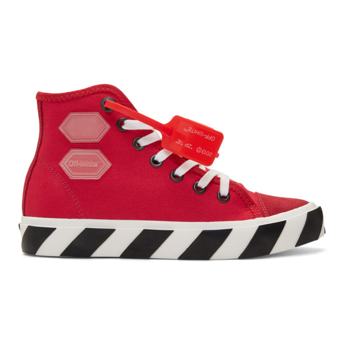 Photo: Off-White Red Vulcanized High-Top Sneakers
