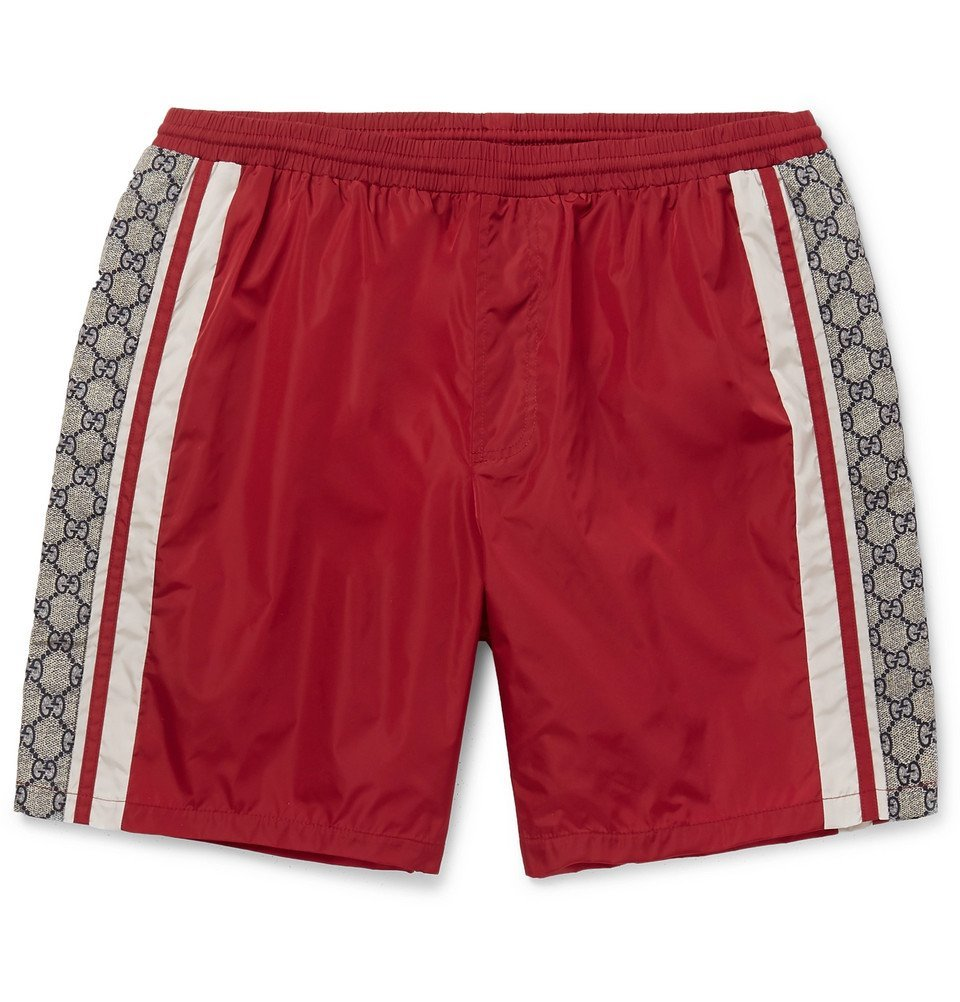 Photo: Gucci - Wide-Leg Long-Length Striped Logo-Print Swim Shorts - Red