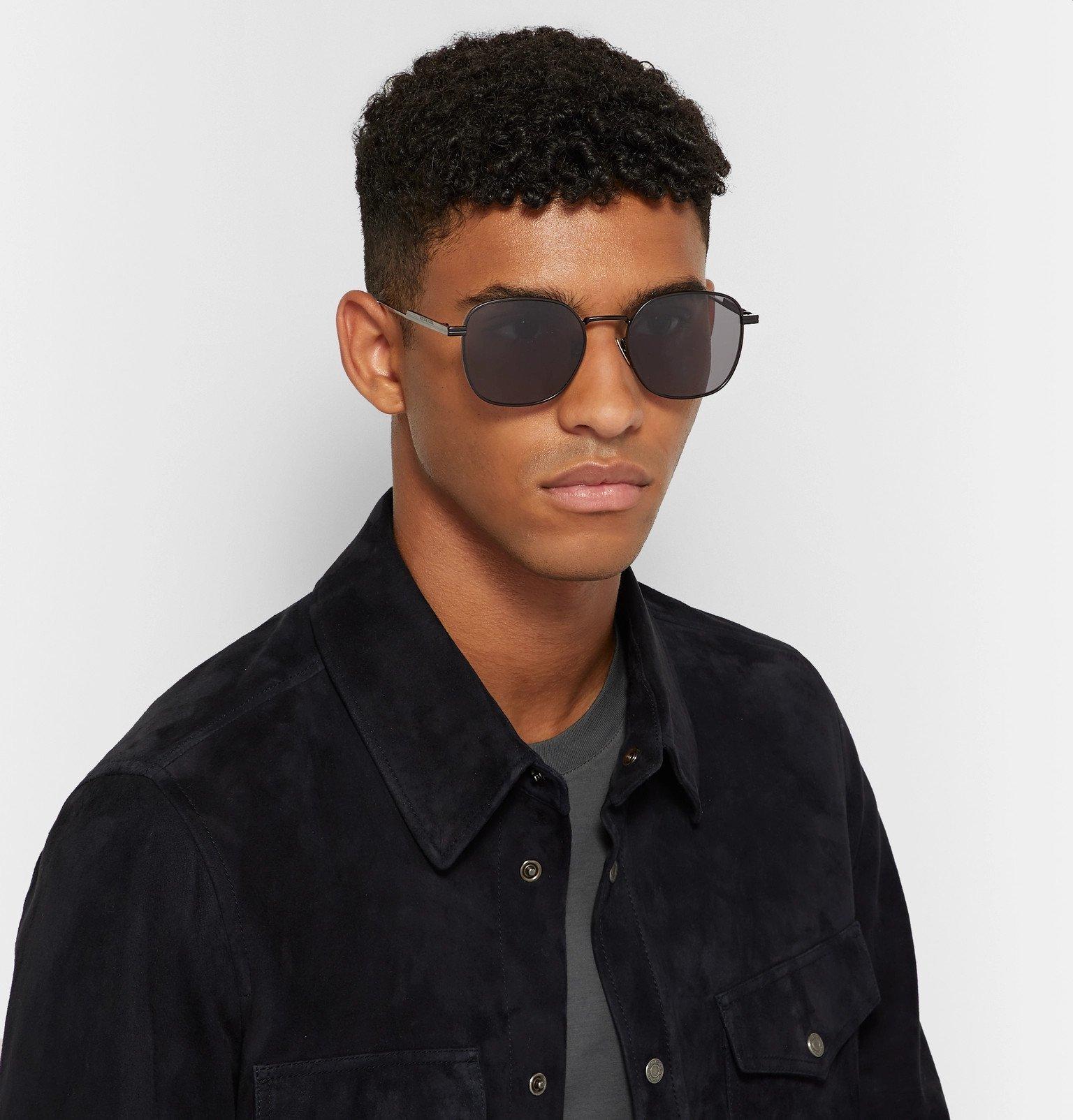Bottega Veneta - Square-Frame Metal Sunglasses - Black