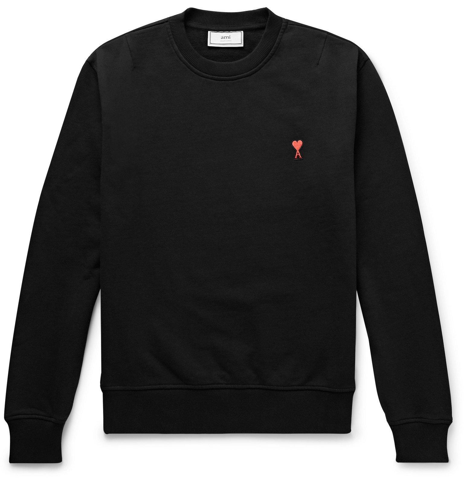 Photo: AMI - Logo-Appliquéd Loopback Cotton-Jersey Sweatshirt - Black