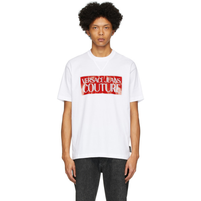 Versace Jeans Couture White and Red Pop Box Logo T-Shirt