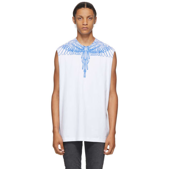 Photo: Marcelo Burlon County of Milan White and Blue Pictorial Wings Sleeveless T-Shirt