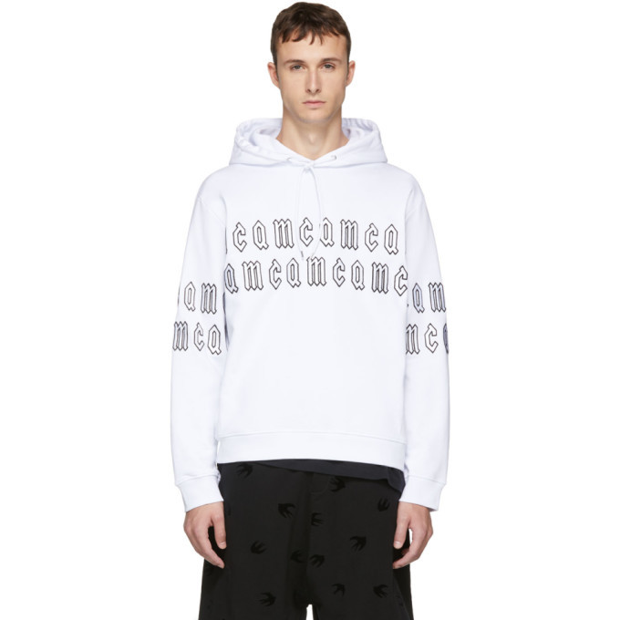 Photo: McQ Alexander McQueen White Gothic Repeat Logo Clean Hoodie
