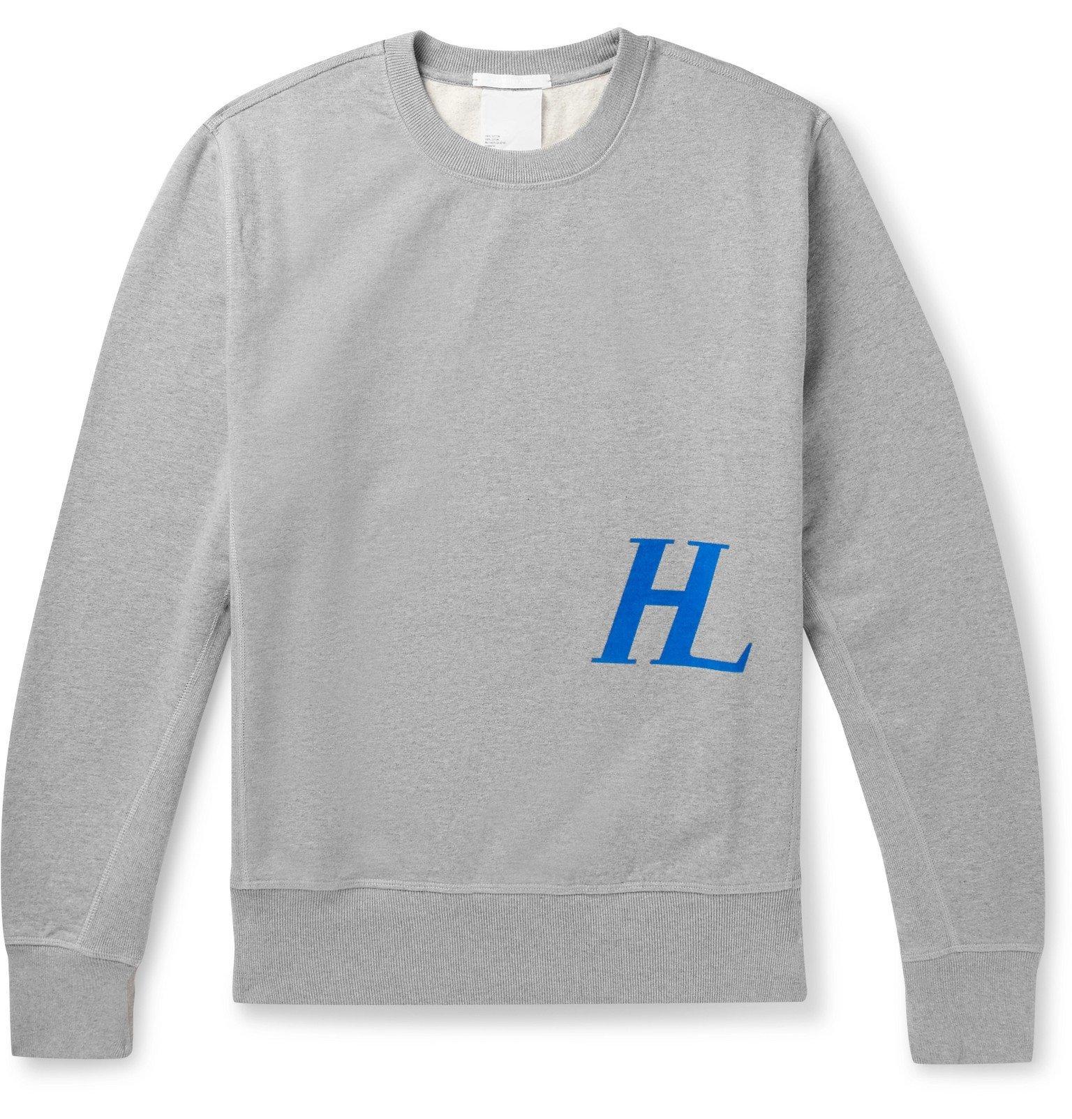 Photo: Helmut Lang - Logo-Print Loopback Cotton-Jersey Sweatshirt - Gray
