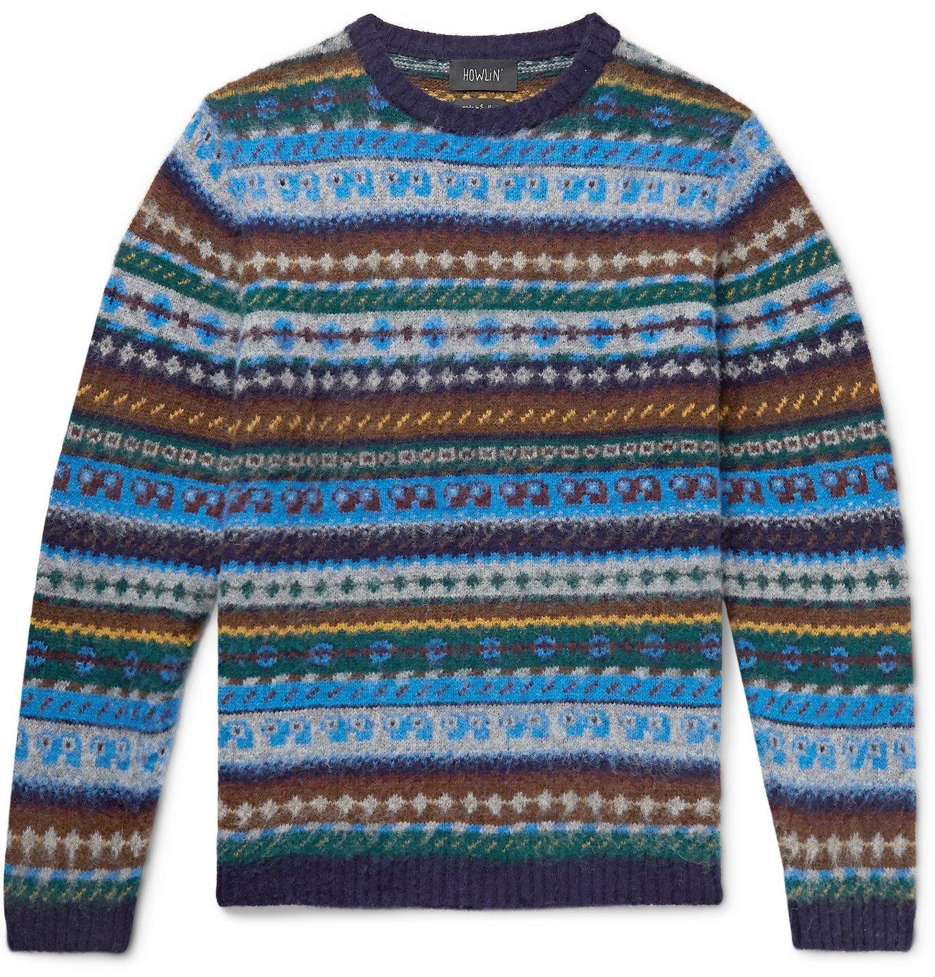 Photo: Howlin' - Revenge of the Wool Fair Isle Wool Sweater - Blue