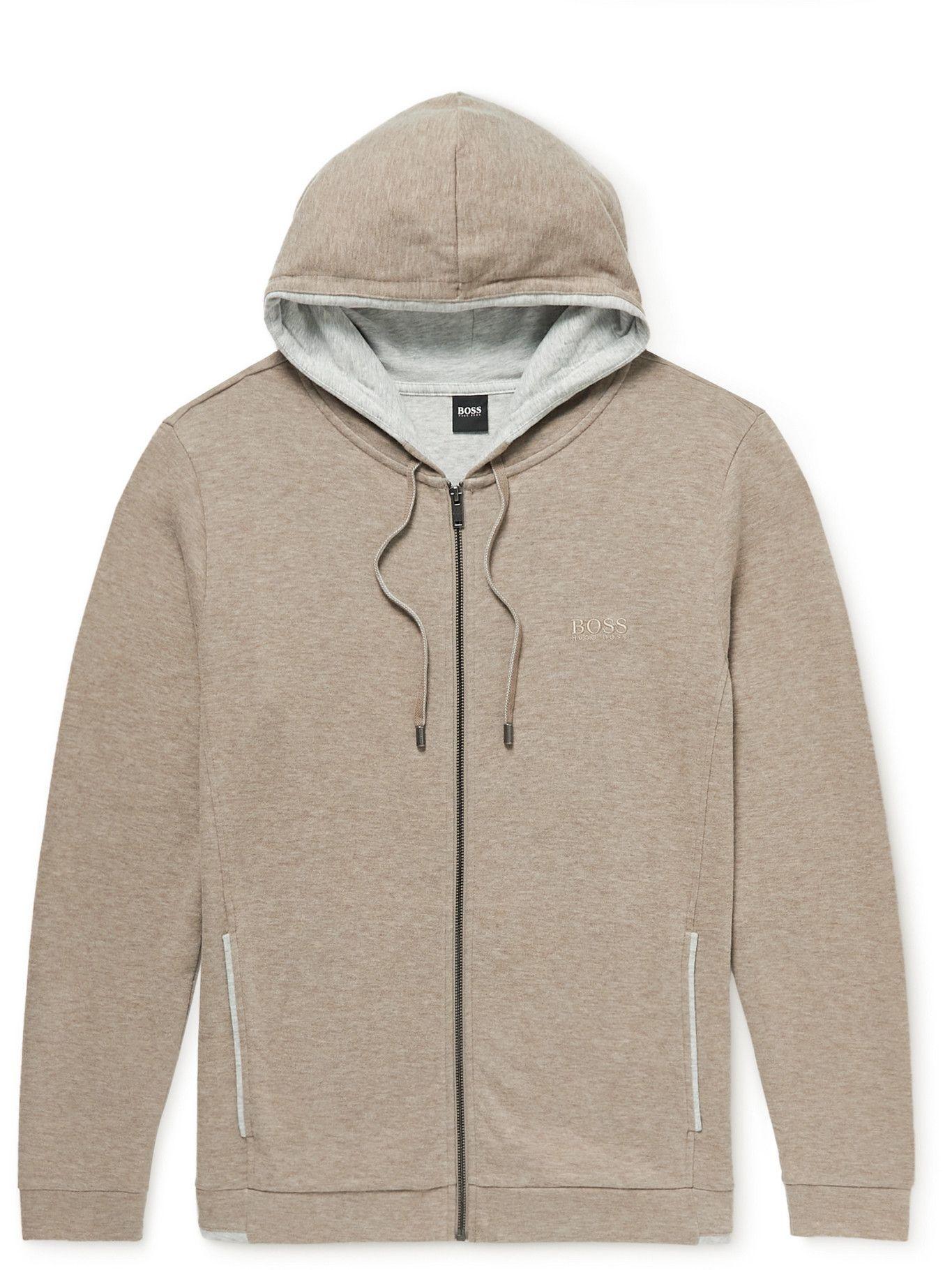 Photo: Hugo Boss - Cotton-Blend Jersey Zip-Up Hoodie - Neutrals
