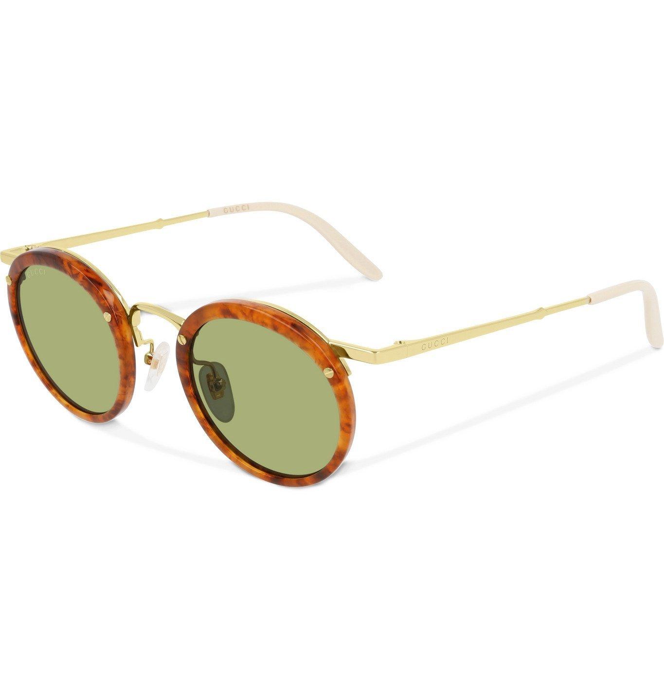 Photo: Gucci - Round-Frame Tortoiseshell Acetate and Gold-Tone Sunglasses - Tortoiseshell