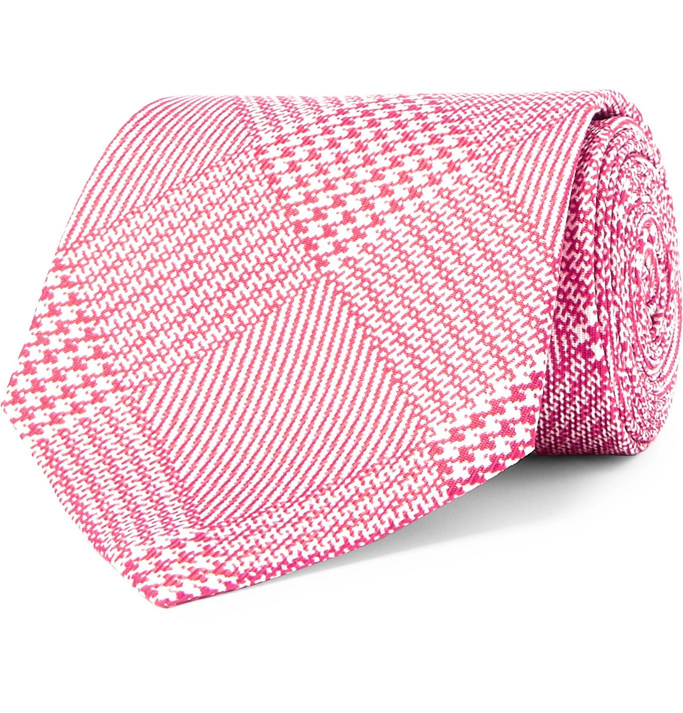 Photo: Emma Willis - 8.5cm Prince of Wales Checked Silk-Jacquard Tie - Pink