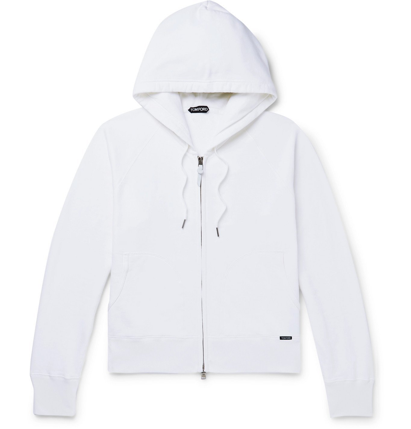 Photo: TOM FORD - Fleece-Back Cotton-Jersey Zip-Up Hoodie - White