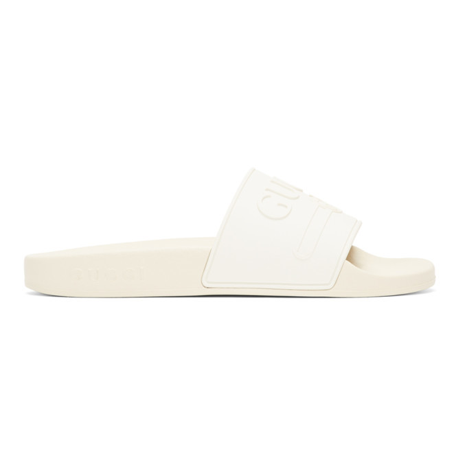 Photo: Gucci White Pursuit Pool Slides