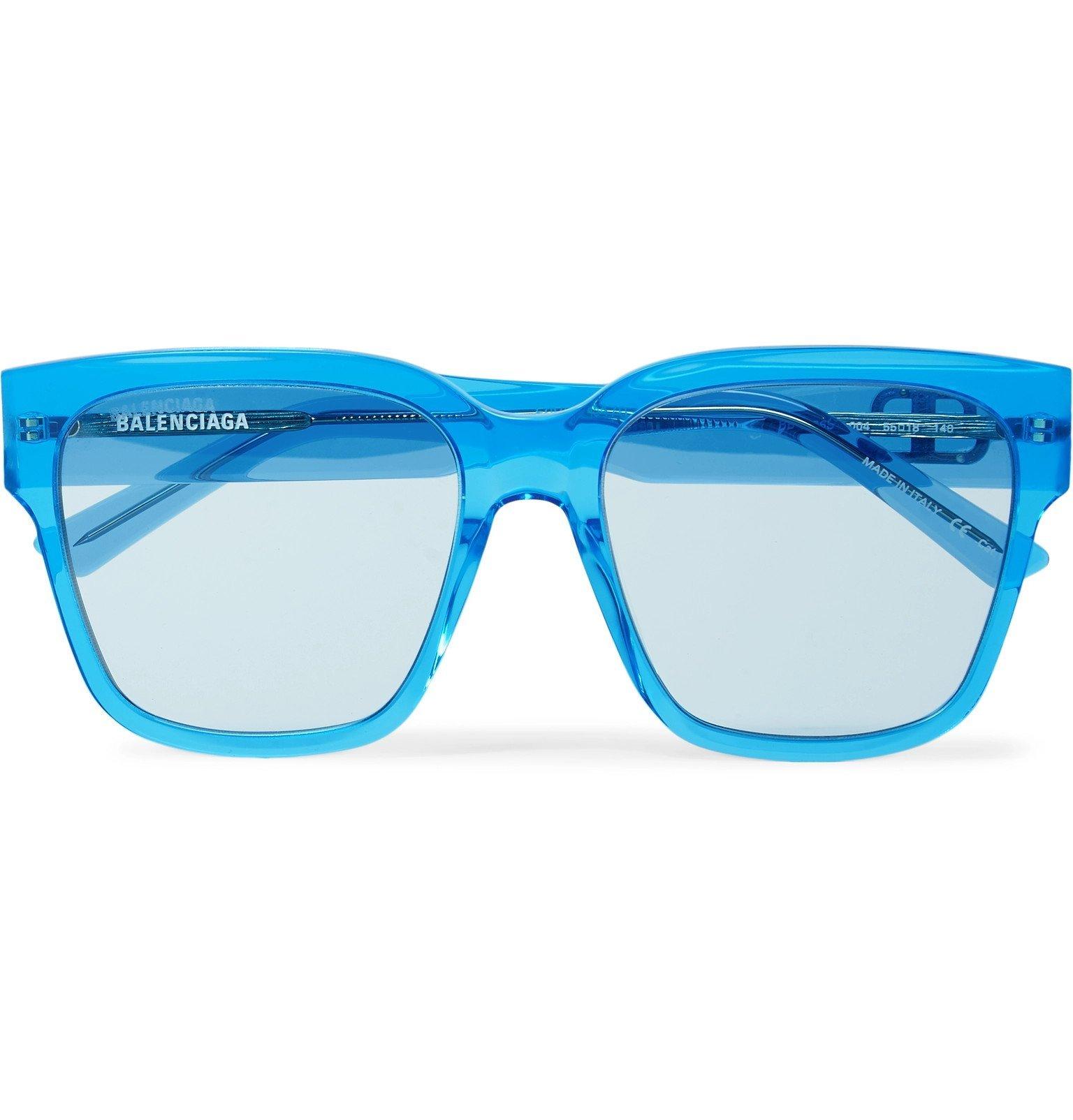 Photo: Balenciaga - Square-Frame Acetate Sunglasses - Blue