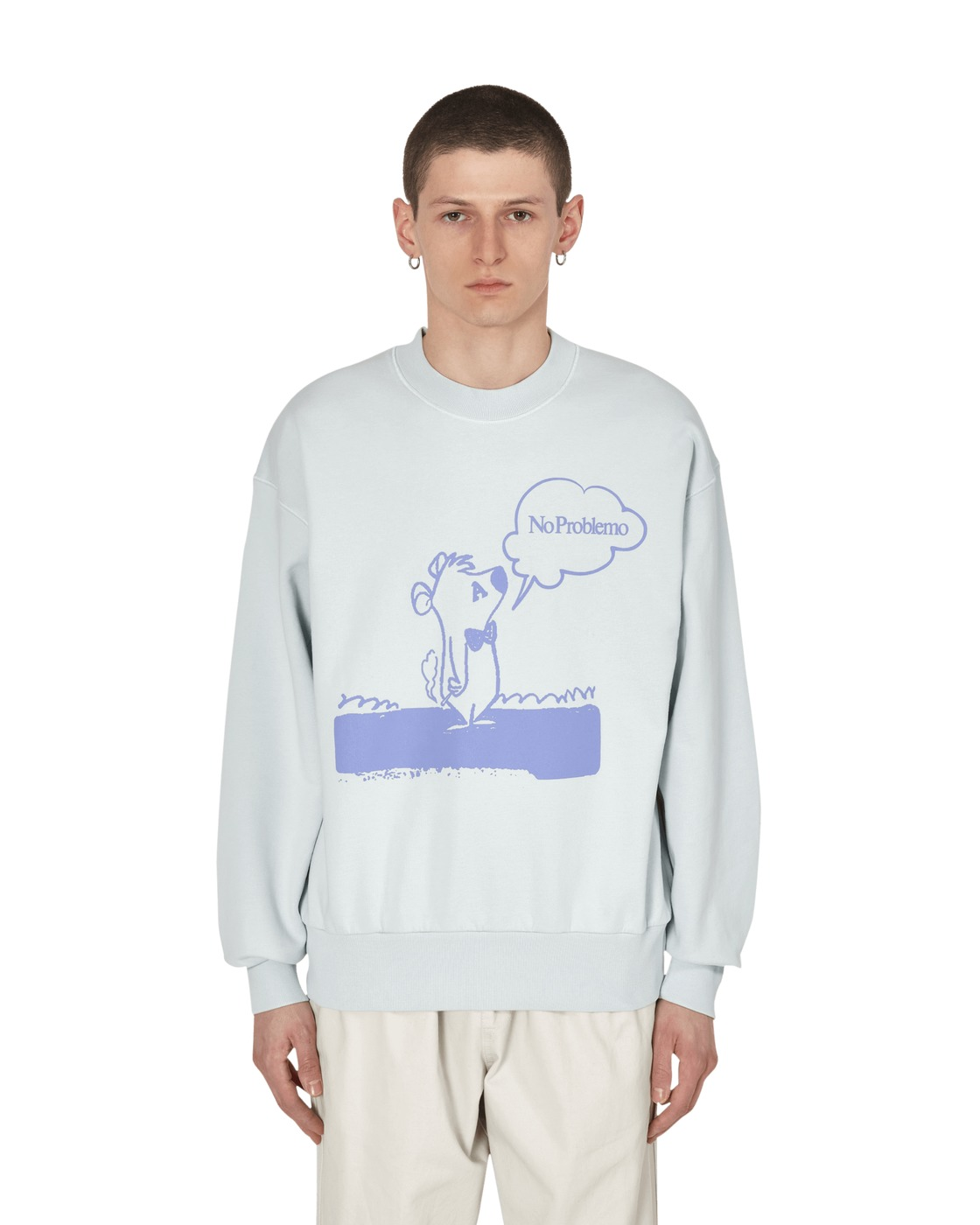 Aries Stoner Bear Crewneck Sweatshirt Pale Blue