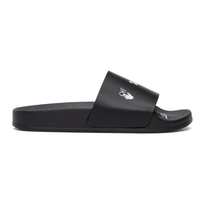 Photo: Off-White Black New Logo Pool Slides