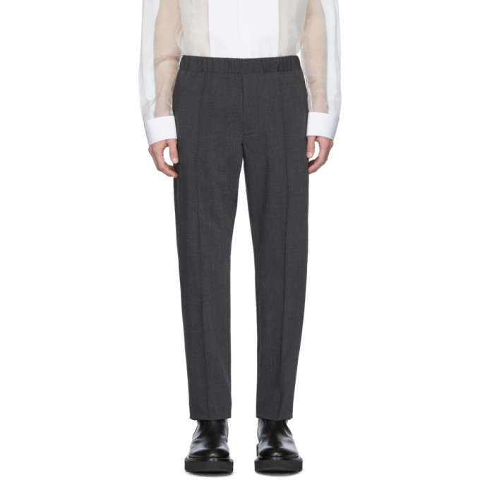 Photo: Helmut Lang Grey Crushed Pull On Trousers