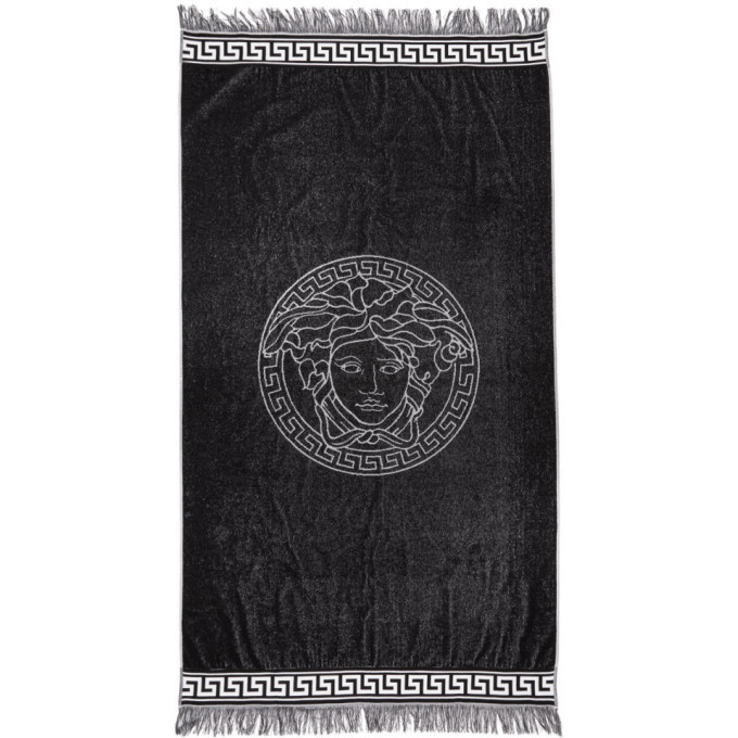 Photo: Versace Underwear White and Black Medusa Towel