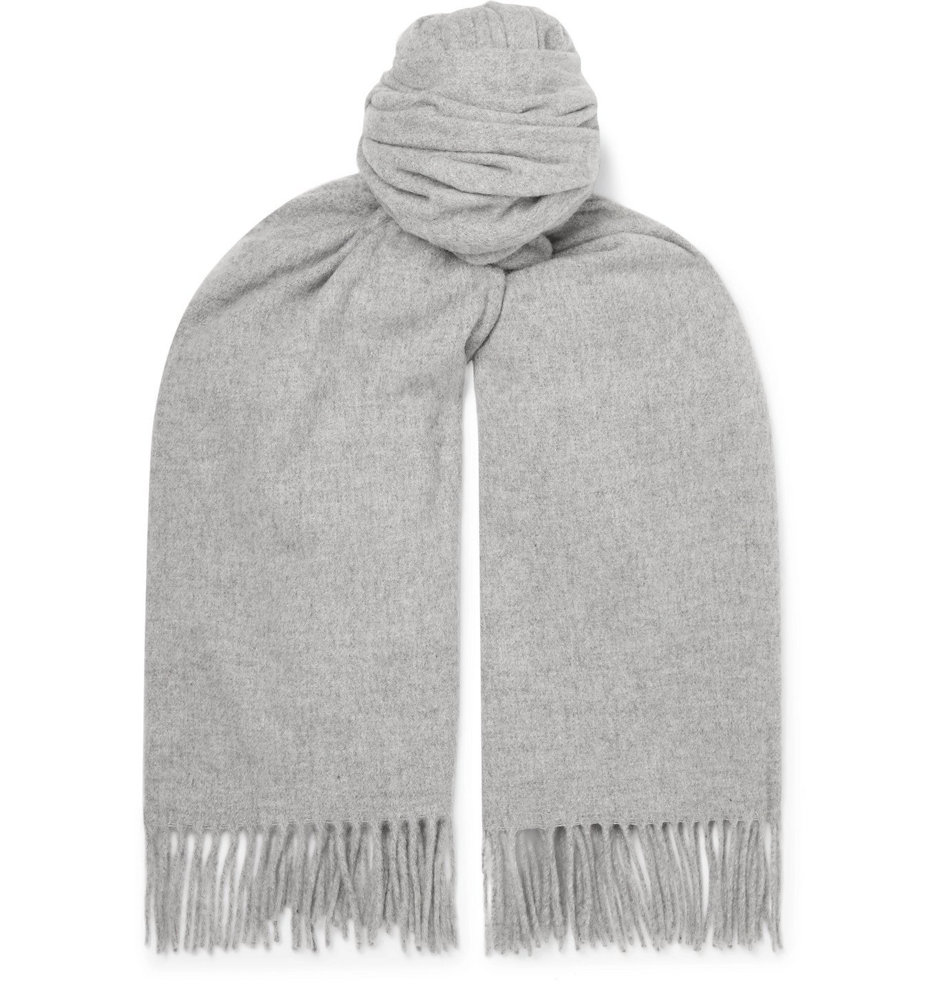 Photo: Acne Studios - Oversized Fringed Melangé Wool Scarf - Gray