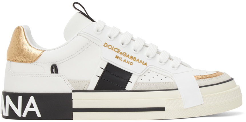 Photo: Dolce & Gabbana White & Gold Custom 2.Zero Sneakers