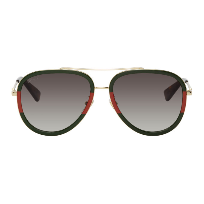 Photo: Gucci Green and Red Aviator Sunglasses