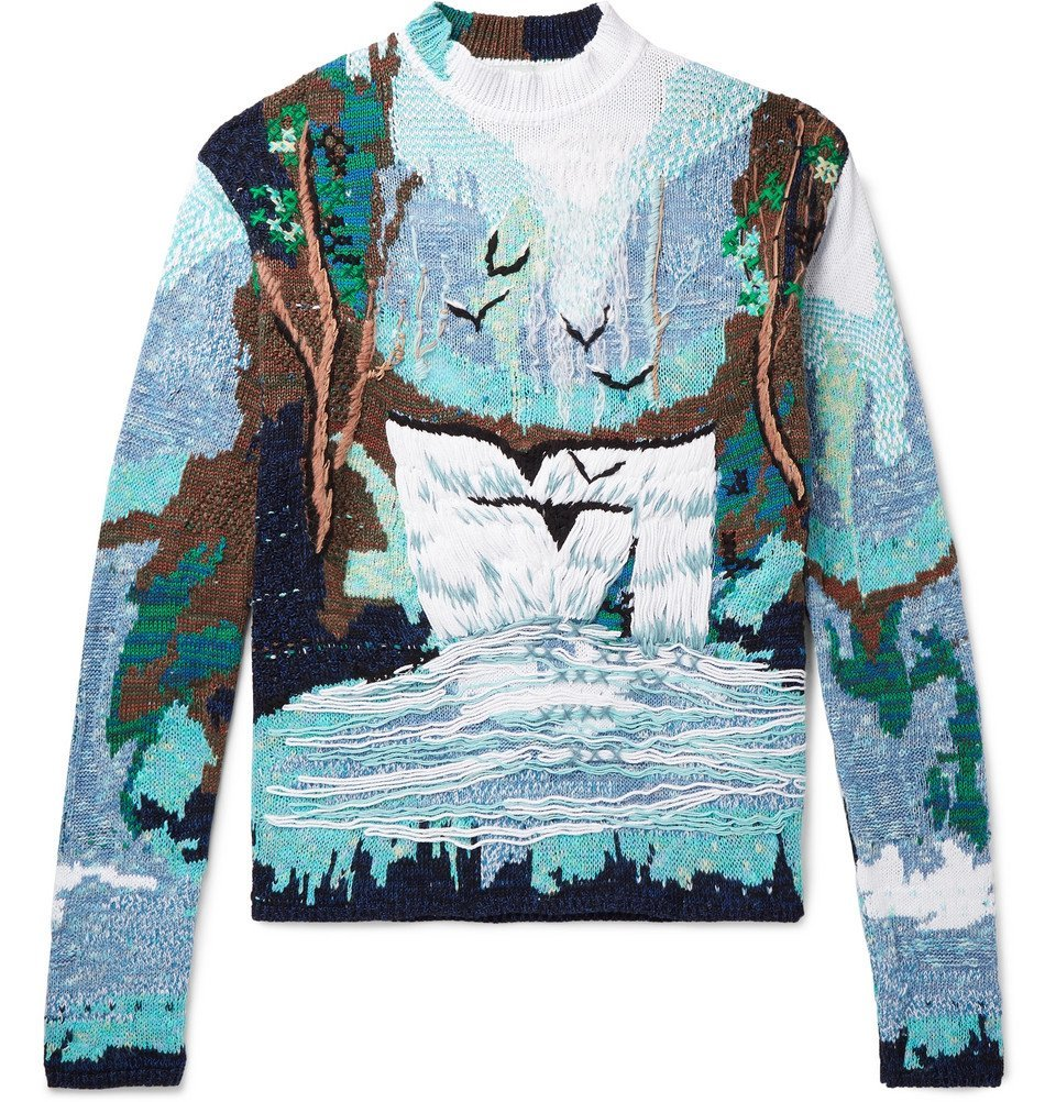 Photo: Off-White - Oversized Embroidered Intarsia Cotton-Blend Sweater - Blue