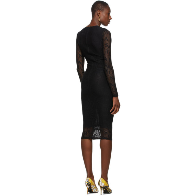 Versace Jeans Couture Black Mesh Logo Dress