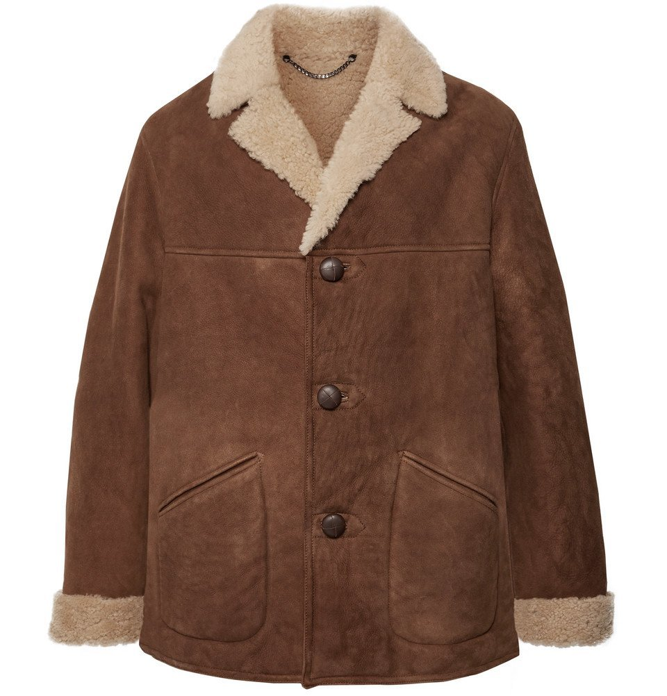 Photo: Belstaff - Leather-Trimmed Shearling Coat - Brown