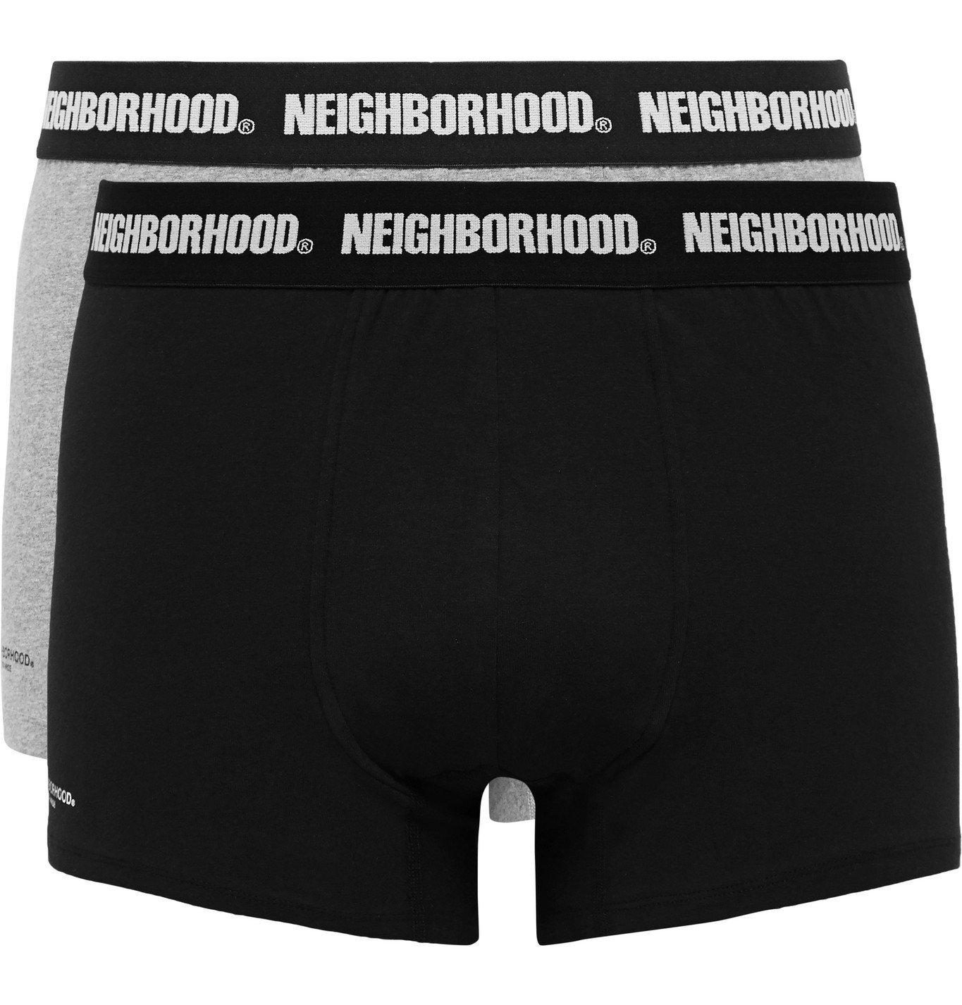 Photo: Neighborhood - Two-Pack Cotton-Blend Boxer Briefs - Black