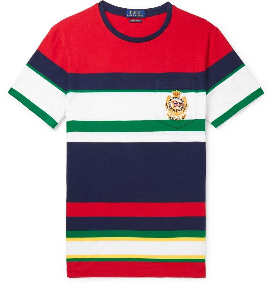 Photo: Polo Ralph Lauren - Logo-Embroidered Striped Cotton-Jersey T-Shirt - Red